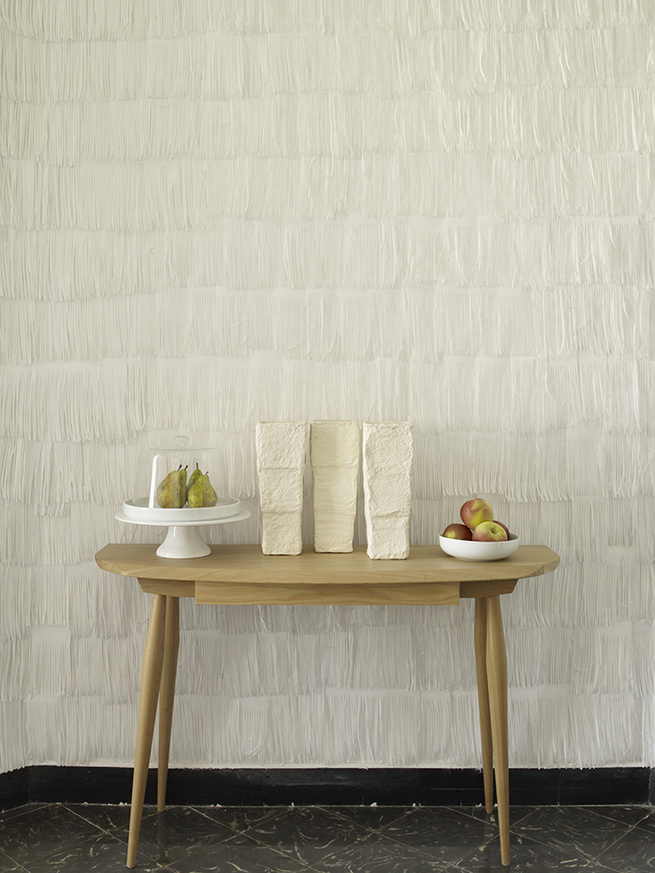 Pierre Pozzi apartment in Valencia Spain with white fringed paper walls
