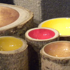 Resting on another console were the Log Bowls by Edmonton-based design collective Loyal Loot.