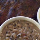 Another group at the Eastside Cafe recommended a spot across the street, where we enjoyed ribs, black eyed peas, and mac and cheese—'cause you can't go to Texas and not have a little barbecue.  Photo by: Miyoko Ohtake