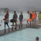 In what was the certainly the most surreal—and coldest—fashion show on earth, Iceland's 66 North showed off their latest line of outerwear at Blue Lagoon, a geothermal-heated spa and swimming hole located about an hour from downtown Reykjavik. Throngs of slack-jawed swimmers bobbed in disbelief as stocking-clad Nico lookalikes strutted along an ice-covered catwalk above the eerily blue waters of steamy water below. An alien landscape if there ever was one.