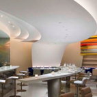 THE WRIGHT AT THE GUGGENHEIM MUSEUM Restaurant designed by Andre Kikoski Architect   Nestled into a curve of the Guggenheim Museum in New York City, this upscale cultural dining experience echoes architect Frank Lloyd Wright's original design intentions.
