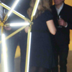 Bec Brittain presented her new SHY Floor lamp (left) and Dror Benshetrit his 3D printed QuaDror light (right), which folds flat and is currently on exhibition at Material ConneXion in New York.  Courtesy of: BFAnyc.com