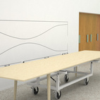Christian Flindt was another designer invited to participate in the competition. His design for a meeting table that can quickly be moved out of the way was quite appealing (save for the strange metal contraption with wheels, seemingly making the table legs redundant). Here the table is shown assembled and ready to be used.