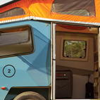 The trailer is Finney's response to bigger-is-better RV culture. Each one weighs between 1,000 and 1,500 pounds and costs from $10,000 to just under $18,000 depending on how heavily it's outfitted. The model I camped in came equipped with a roof rack (1) and Finney spent a fair amount of time during the photo shoot on the mountain bike that he'd brought along. All Cricket Trailers are fabricated with folded-aluminum panels (2) and feature pop-up tops (3), locking doors (4), and trailer hitches (5).