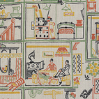 Doll's House, furnishing fabric. Tootal, Boradhurst, Lee & Co. Printed cotton. UK, 1930 (V&A: T.438-1934). From V&A Pattern Series II: Novelty Patterns published by V&A Publishing and Abrams Books.