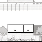 The first floor houses the patios (3), dining area (2), and restrooms (9). The second level accomodates the chef's offices (13) and dressing areas (16, 17).