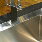 Another highlight of Blanco's booth was this handcrafted sink and streamlined pull-out faucet.