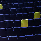 The National Theater of Milan opened in 2009 with a production of Beauty and the Beast. A comedy might have been more appropriate given Lissoni's playful smattering of green seats amongst the sea of dark blue. The chairs are by Poltrona Frau.