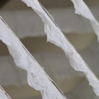 A close-up of the crinkled plaster-coated paper.