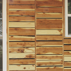 """The students also attempted to appease residents by making their home """"of the area."""" They based the design on vernacular shotgun houses and bought the cedar siding as off-cuts from a local lumberyard, which totaled $120.  Photo by Ty Cole"""