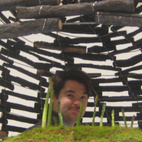I could not resist asking Jason to take a picture of me through the teahouse's little window over the top of the mossy asparagus.