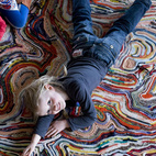 Appearing to be some forgotten woolen continent, the Accidental Carpet from 2008 is made from recycled blankets.