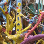 Adjacent to the main structure of the mountain is this warren of branches that form some kind of technicolor aerie.