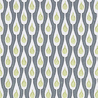 """Ljus i Flaske (Light in Bottles)"" is a peacock-esque wallpaper sample by Preben Dahlstrom for Dahls tapetfabrik, block-printed in Denmark. 1956, from The Fifties."