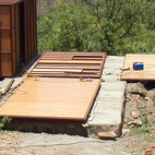 One of Fred Friedmeyer's modular dwellings takes shape in the Ethiopian hills.