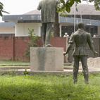Statue of Ghana's first president Kwame Nkrumah, looking towards the National Museum of Ghana, Accra.