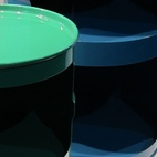 One of my favorite discoveries was the four-year-old company Eno Studio, which commissions projects from emerging and established designers, many of them French. Here's one of the products they premiered at the fair: storage made from recycled oil drums painted in glossy hues, designed by Fü.