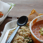 The menu changes every day; we enjoyed gazpacho, pork bahn mi sandwiches, fresh iced tea, and cous cous salad. Yum.