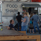 After the tour, we headed back into the center of town to grab lunch. Food Shark, the local mobile eatery, did not disappoint. When we arrived promptly at noon, there was already a hungry throng queued up and lounging on Donald Judd–designed furnishings.