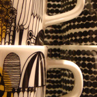 These cups printed with retro-inspired graphics reflect Marimekko's strong graphic identity.