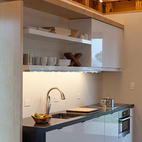 Here's the kitchen, one of the smallest in the Decathlon, but it's armed with the essentials: a sink, fly ash concrete countertop, induction cooktop, and cabinetry by Decor.Photo Courtesy of the DOE.  Courtesy of: Foto©Jim Tetro/Jim Tetro Photog
