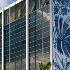 The Bacardi Building is one of Leff's favorite buildings in Miami. Designed by Enrique Gutierrez of the Puerto Rican firm Sacmag International, with ceramic murals by the Brazilian artist Francisco Brennand, the Bacardi Building, built in 1963, houses offices, a restaurant, and a museum open to the public. Behind the tower is a 1973 addition designed by Ignacio Carrera-Justiz, with glass tapestries by Frenchmen Gabriel and Jacques Loire.  Photo by: Roy Zipstein