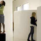 A softwall is a freestanding and expandable partition made of fire-retardant paper and textiles, from the Vancouver-based firm molo. The softwall's honeycomb structure allows the material to expand from its compressed form to up to 15 feet long. If you're looking for a translucent divider, the white version will do the trick. For something moodier and more cocooning, the opaque black version, dyed with bamboo charcoal, is an appealing variation.