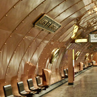 The  Arts and Metiers station is definitely one to be gilded into memory. The steampunk copper construction was designed in 1994, to celebrate the bicentennial of the nearby National Conservatory of Arts and Crafts, in the science-fiction spirit of Belgian artist and scenographer Francois Schuiten. One can imagine descending into some subterranean Nautilus. Photo courtesy of Tiffany Chu