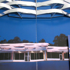 For the page dedicated to the Wykagyl Shopping Center, metallic paper strips represent the bent aluminum cornice mounted above the retail spaces.