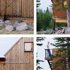 Montana Modern Prefab Cabin Submitted by: Intrinsik Architecture Inc. Designer's Description: The cabin's remote location, extreme snow demands, wildlife interaction and the desire to keep all trees on site intact, controlled the design and logistics of construction. With a high concentration of bears, wolves, and other wildlife, the site presented a unique design challenge. The cabin needed to open-up to the outdoor environment, while maintaining the ability to be securely sheltered. The resulting design acts as an armadillo shell as all openings are equipped with rolling shutters, pivoting screen walls, or sliding doors to protect it from the elements and curious wildlife.