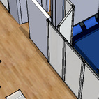 Transform Submitted by: J. Michael Kilpatrick, Architect Designer's Description: This project involves a 550-square-foot one-bedroom condo. Currently a wall exists between the bedroom and living room. This proposal provides the opportunity to open the public area to allow for functions that require more room or to close the bedroom on those days that you don't feel like making the bed. It accomplishes this by installing a sliding translucent panel from floor to ceiling.
