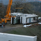 The last module arrived on-site late in the day.