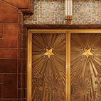 Lavish tile treatment and intricately-etched elevator doors are found inside the Art Deco Marine Building.  Photo by João Canziani.   This originally appeared in Vancouver Maneuvers.