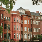 The brick row houses of Logan Circle, at Vermont and Rhode Island Avenues NW, have a style distinct from those in other neighborhoods of the District.  Photo by: Matthew Monteith