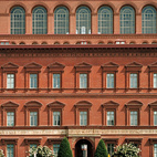 Commissioned to be the headquarters of the US Pension Bureau and now home to the National Building Museum architect Montgomery C. Meigs' brick building  was completed in 1887.  Photo by: Matthew Monteith