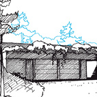 The Hess house nestles deeply into the earth. Though the structure is almost fully submerged, natural light is a key component.  Courtesy of: Rendering courtesy Malcolm Wells.