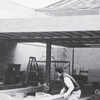 A 2002 photograph of the courtyard in progress.  Photo by Juliana Sohn.