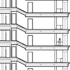 The side elevation of the building shows the seven 2,500-square-foot apartments, including the owner's two-level penthouse apartment, stacked above the common area downstairs. Image courtesy Khanna Schultz.
