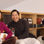 """Patrick, Cherry and Jasmine with Sage, Solo and Coco in the upstairs loft. """"This house is very modern and minimal, and though there is an abundance of beautiful architectural detailing, it's not at all flashy—it's very low-key,"""" says Wong.  Courtesy of ©2010 Patrick Y. Wong."""