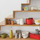 A closer look at the shelving built into the staircase in the kitchen.  Courtesy of Andrew Meredith 2007.