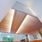 """The """"lightbox,"""" seen from below, adds illumination and quirky interest to the space."""