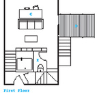 The First Floor plan C: Kitchen/Dining/ Living Area D: Deck E: Bathroom