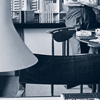 """Architect Charles Goodman stands in his Washington, D.C. office during the 1950s. He designed the modernist housing development Hollin Hills in Alexandria, Virginia. In """"Community of Vision"""" (October/November 2005) we spoke with the residents of a 1970s home in the architecturally progressive enclave.Is there a mid-century home from the Dwell archive that we missed? Let us know in the comments section below!  Photo by: Eric Laignel"""