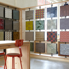 """""""In this showroom, it's the first time that we've been able to show the tile, have people interact with the tile, play with it, see what's on each side, and have access to boards to experiment,"""" says Bailey.  Courtesy of ©Leslie Williamson."""