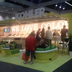 Kohler won Best Booth for their tricked-out shipping container.  Photo by: Alejandro Chavetta