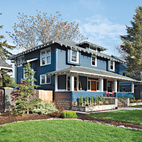 The front of the 1910 house belies the modern extension architects Doug Skidmore and Heidi Beebe created to extend the family's living space.  Courtesy of ©Lincoln Barbour - All Rights Reserved.