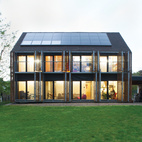 Sun Volt With the roof angled at 43 degrees, the architects lined the southern slant of the house with solar panels to collect as many rays as possible. Karanesheva and Witzmann started with four, but then added 23 more, all by Systaïc; the company gave them a deal since theirs was its first installation in France. The panels now collect far more energy than the home actually needs, a precious resource that the pair sells back to the power company. systaic.com  Courtesy of © 2012 Nicholas Calcott.