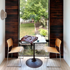 Even in a small space—this unit is one of the company's smallest—there's plenty of room for a sitting area. In addition to montoread and charred wood, this space has American Clay walls, a soft plaster-like coat that when punctured or cracked, a spritz of water will allow minor flaws to be smoothed clean.
