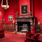 Inside the study, or the West Room, was used for Morgan's personal business. The velvet-covered furnishings were reupholstered during the renovation.