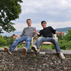 "This is Moritz and Elmar, two DIY chair makers from the Bodensee area of Germany. They had no jobs when they built their 24 Euro chairs, and the experience strengthened their friendship. ""They sent this picture in to the Hartz IV Moebel website for my book. This is one of the ways that the Karma Economy has worked for me,"" says Van Bo. ""The KE concept, developed by Danny Iny, about how to help helpful people so that we create a vibrant community without having to use money—has been great for me. These guys are enjoying their new chairs, and I have a book that elucidates my ideas. Everyone is happy!"""